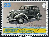 JERSEY - CIRCA 2002: A stamp printed in Jersey shows police vehicles vauxhall 12 c. 1952: circa 2002