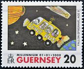 A stamp printed in Guernsey shows childlike drawing of a bus in space by Fallon Ephgrave to 9 years