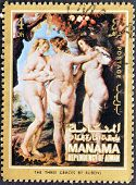 A stamp printed in the Manama shows painting