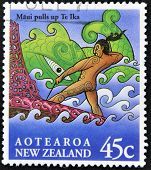 A stamp printed in New Zealand shows image of a scene from a Mauri folk legend