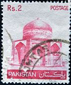 Pakistan - Circa 1979: A Stamp Printed In Pakistan Shows Image Of Mosque, Circa 1979