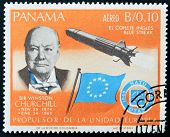Panama - Circa 1966: A Stamp Printed By Panama, Shows Sir Winston Churchill And Rocket Blue Streak