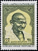 Syrian Arab Republic - Circa 1969: A Stamp Printed In Syria Shows Mahatma Gandhi, Circa 1969