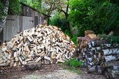 Stack Of Firewood In Rural Areas