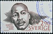 SWEDEN - CIRCA 1986: A stamp printed in Sweden dedicated to Nobel Peace shows Martin Luther King