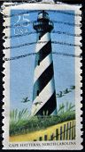 A stamp printed in the USA shows image of Cape Hatteras in North Carolina