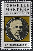 stamp printed in USA shows Edgar Lee Masters