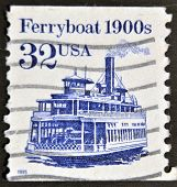 A stamp printed in USA shows image of a ferryboat