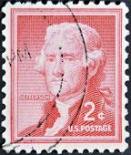 a stamp printed in USA shows Thomas Jefferson president of USA 1801-1809