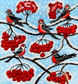 Bullfinches On Ash Tree, Painting