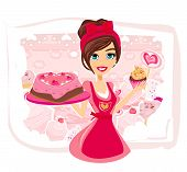 pic of stereotype  - saleswoman serving chocolate cakes and birthday cake vector illustration - JPG