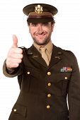 foto of military personnel  - Smiling military officer showing thumbs up over white - JPG