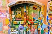colourful windows and wall in Liguria village