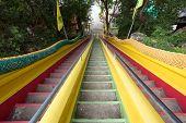 Colorful stairs in Wat tham khao noi buddhist temple, Kanchanaburi, Thailand