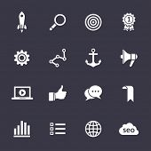 Search engine optimization, internet marketing icons. Clean vector icons on black