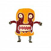 retro cartoon tribal mask man