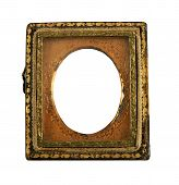 image of keepsake  - over 100 year old Daguerreotype metallic picture frame on a white background - JPG
