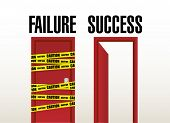 Failure And Success Doors. Illustration Design