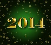 Golden 2014 at astrology signs background