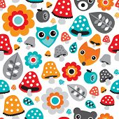 Seamless baby boy autumn owl bear and fox illustration pattern background isolated in white in vector