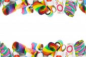 Assorted Party Blowers Border On White Background