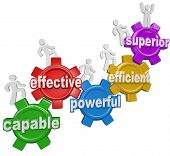 A team of people or workers climb gears containing the words Capable, Effective, Powerful, Efficient