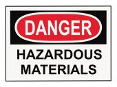 foto of osha  - OSHA danger hazardous materials warning sign isolated on white - JPG