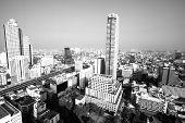 Bird's-eye view of Bangkok, Thailand (black and white photo)