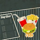 Vintage fast food menu card design with hamburger, french fries and drinks.