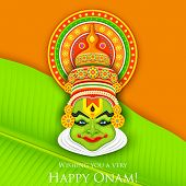 illustration of colorful Kathakali dancer face for Onam celebration