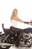 Woman On Bike Black Tight Pants Look