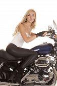 Woman White Top Black Pants Sit Motorcycle Looking