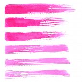 Watercolor paint brush strokes. Paint brush texture pink red watercolor spot blotch isolated on whit
