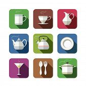 kitchen tableware set of simple icons. vector illustration isolated on white background EPS10. Transparent objects and opacity masks used for shadows and lights drawing