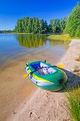 Inflatable dinghy at the summer lake in Poland