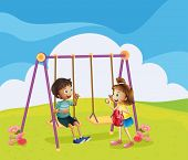 Illustration of a boy and a girl at the playground