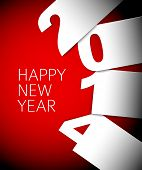 Red and white Happy New Year 2014 vector card with big numbers