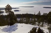 View From The Mountains To The Snowy Expanses. Winter Landscape