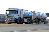 Scania Tanker Truck Transporting Milk