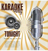foto of karaoke  - Karaoke vintage retro  party background vector illustration - JPG