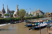 Wooden Tourist Boats And Temples On Inle Lake, Myanmar (burma)