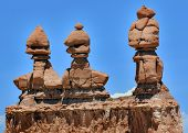 stock photo of goblin  - Three Sisters Hoodoos Goblin Valley State Park Rock Canyon San Rafael Desert Utah USA Southwest - JPG