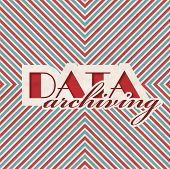 Data Archiving Concept on Striped Background.