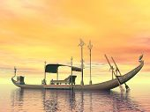 picture of barge  - Egyptian sacred barge with throne floating on the water by sunset - JPG