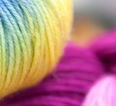 Colored wool knitting yarns