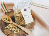 Home Made Crispy Muesli On Wooden Board