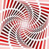Design Red Twirl Movement Illusion Background. Abstract Strip Torsion Backdrop