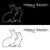 Monochrome Contour Silhouette Of Two Easter Bunny Rabbits. Design Easter Uncolored Background