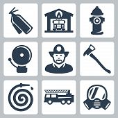 stock photo of ladder truck  - Vector fire station icons set - JPG