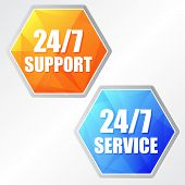 24/7 Service, Two Colors Hexagons Labels
